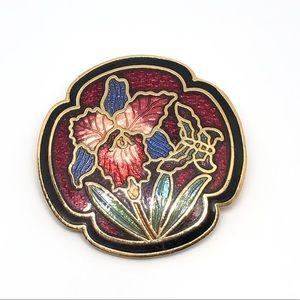 🆕80s Vintage Orchid & Butterfly Cloisonné Pin